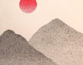 "Sun Over Two Peaks - Original Drawing - 8""x10"""