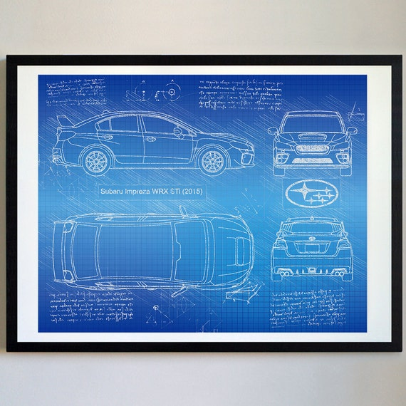 Subaru impreza wrx sti 2015 subaru artwork blueprint specs like this item malvernweather Gallery