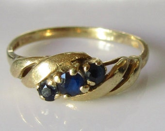 9ct Gold Midnight Blue Sapphire Ring