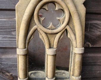 "Gothic Arch Mirror stone garden ornament double candle sconce antiqued finish 36cm/14"" High (S)"