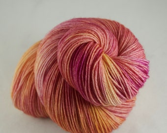 Hand Dyed Sock Yarn, hand dyed wool, variegated sock yarn, nylon sock yarn, pink, orange, yellow
