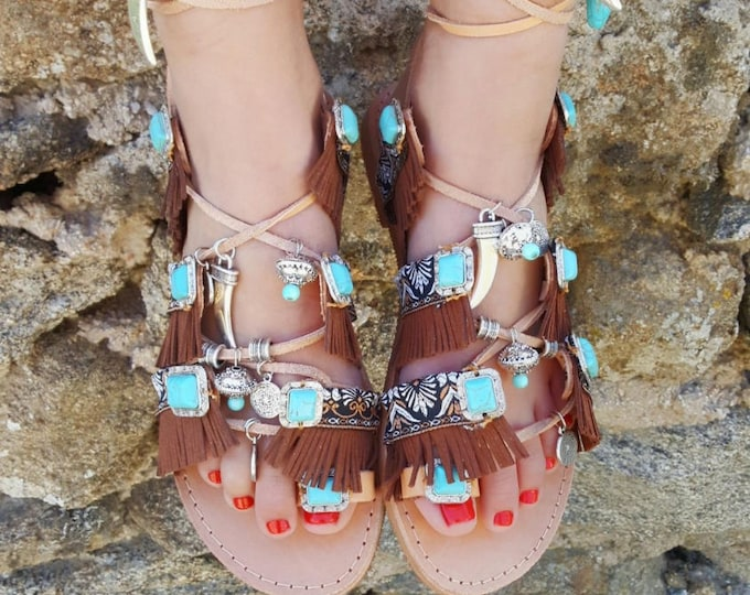 "Greek handmade sandals  ""AMAYA"",tie up gladiator sandals,boho,ethnic,fringes sandals,tassels sandals,women's sandals"