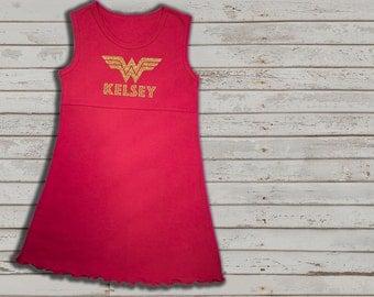 Wonder Woman inspired dress for girls, Red sleeveless dress, Wonder woman, gold glitter, custom wonder woman dress for girls, toddler dress