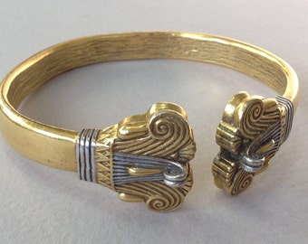 Gold Tone Torque Egyptian Museum Reproduction Cuff Bracelet