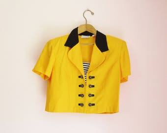 Vintage 80s Bright Striped Cropped Bolero Jacket Top - Size M