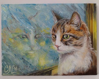 Cat|lover|gift for wife gift Pet portrait painting Original oil painting Fine art Christmas gift|for|her Cat portrait Christmas decorations