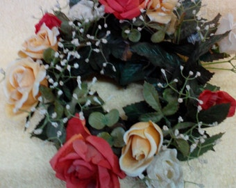 Candle Ring-12 inch, Roses, Red, Peach &  White, 3 colors,Silk Flowers