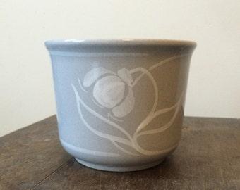 Vintage Light Blue West German Planter - Ceramic Plant Pot - White Flower - West Germany - Indoor or Outdoor