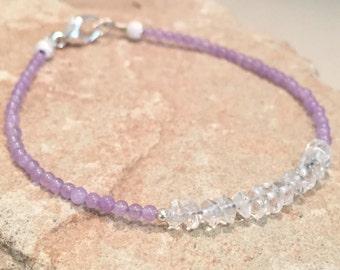 Purple bracelet, violet bracelet, crystal quartz bracelet, sterling silver bracelet, gemstone bracelet, dainty bracelet, natural bracelet