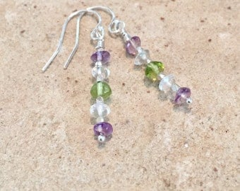 Purple drop earrings, amethyst earrings, peridot earrings, crystal quartz earrings, Hill Tribe silver earrings, sundance style earrings