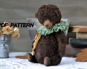 Teddy bear pattern 17-18 cm PDF - Teddy bear ooak - artist teddy bear pattern