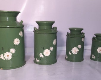 Hand Painted Ceramic Green Kitchen CANISTER SET vintage Kitchen - Milk Jug Design - 1971