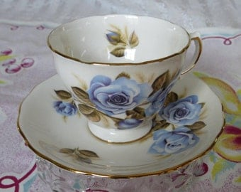 Pretty Blue Vintage Royal Crown Blue Roses Tea Cup and Saucer Rose Garden Tea Party