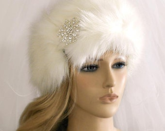 Wedding Faux Fur Headband,Rhinestone  Lt Ivory Fur Head wrap, Head Warmer,Three Color Fur Hat -HA022