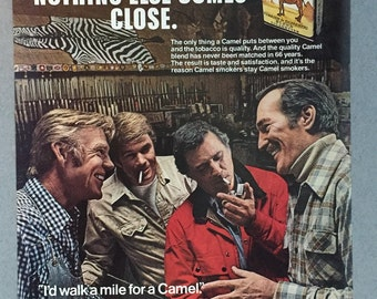"1980 Camel Cigarettes Print Ad - ""I'd walk a mile for a Camel"""