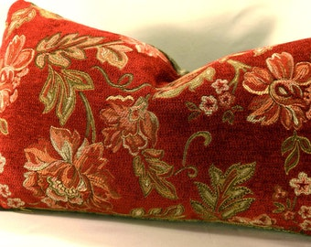 Chili Pepper Red Lumbar Pillow Cover with Tree Top Green Sculpted Chenille Backing. Zippered Decorative Pillow Cover/Designer Pillow Fabric