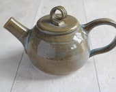 Handmade Two Cup Teapot - One Person Teapot - Blue Brown Glaze - Ready to Ship