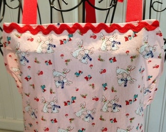 Daughter apron, full apron, bunnies, bluebirds, red ricrac, eyelet lace, pink, aqua, ruffles