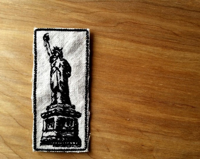Embroidered Statue of Liberty Upcyled Canvas Iron On Jacket Patch