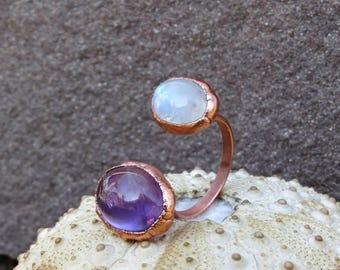 Amethyst ring | Amethyst cabochon ring | Moonstone ring | Amethyst copper ring | Moonstone electroformed ring | Open ring | Split ring