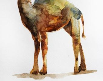 ORIGINAL Watercolor Camel art Painting camel wall decor watercolor animal Original Animal, africa art, decor for home, gift for her Art OOAK