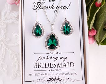 Emerald Earrings Emerald Green Earrings Crystal Green Earrings Green Bridesmaid Jewelry Pear Drop Earrings Green Necklace Emerald necklace
