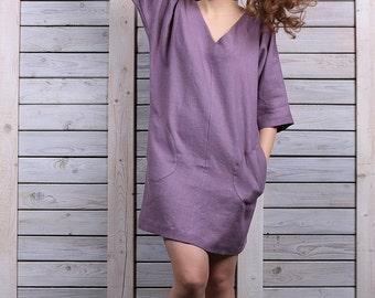 Linen tunic / Casual dress / Summer tunic dress / lavender