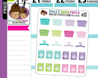 Colorful Laundry Planner Stickers | Laundry Stickers | Washing Machine Stickers | 188