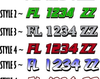 Boat Registration Numbers / PAIR / Personalized State Registration / Boat Decals / vinyl window sticker / custom graphic sign
