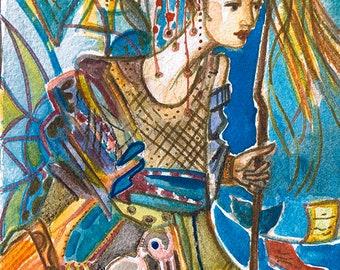 "Goddess series ""Wanderer Goddess"" Art Print of original watercolor"