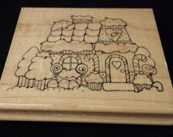 "JRL Design Candy Cottage 4-1/4"" x 4"" Rubber/Wood Stamp CLEAN"