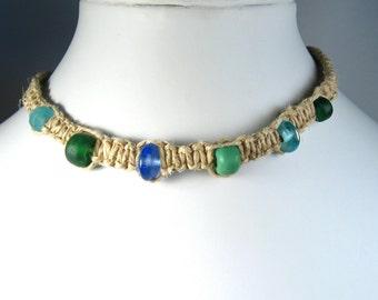Handmade Flat Hemp Choker Necklace with Blue and Green Glass Beads