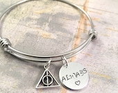 Harry Potter bracelet, Always bracelet, Harry potter jewelry, harry potter fan, potter head, hogwarts, bangle bracelet, charm bracelet