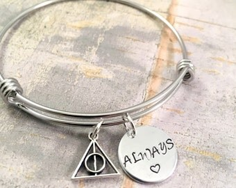Harry Potter bracelet, Always bracelet, Harry potter jewelry, harry potter fan, potter head, hogwarts, bangle bracelet, charm bracelet