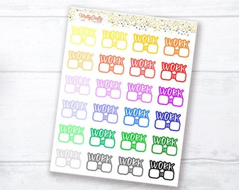 Work Schedule planner stickers | Work time stickers | Work tracker stickers | Work Timetable | Rainbow stickers | Icon stickers