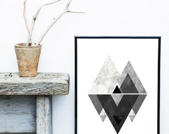 Monochrome Art, Abstract Art Print, Printable Art, Scandinavian Art, Geometric Art,  Contemporary Art, Abstract Wall Art, Digital Download