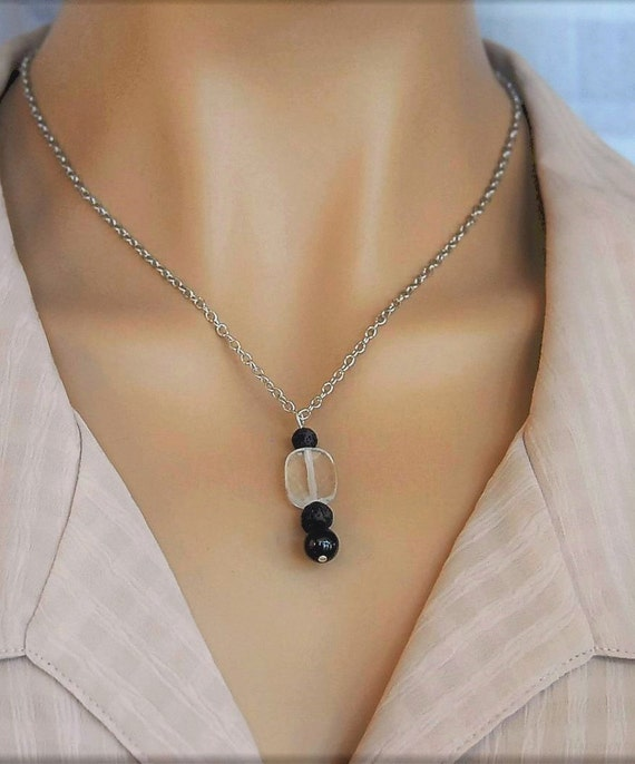 Lava Diffuser Gem Stone Necklace. Rounded Rectangular Quartz Crystal, Black Tourmaline, Lava Stone Beads for Essential Oil Aromatherapy.