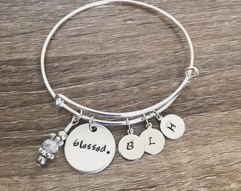 Blessed bangle bracelet personalized initial tags  / Bangle charm bracelet / Gift for her / Blessed / Blessings / Up to 8 initial charms