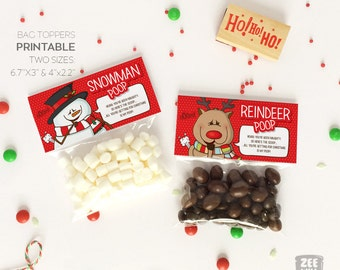 Christmas bag topper, Snowman poop, Reindeer poop, Snowman, Reindeer, Xmas gift bag topper, Christmas, PRINTABLE, DIY, ZWDXMAS160073