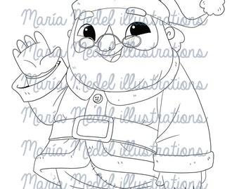 Sello Digital de la Navidad. SANTA CLAUS. Descarga inmediata. Uso personal. Scrapbooking, tarjeta que hace, página para colorear