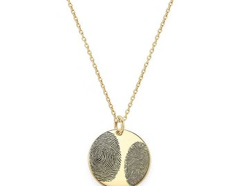 """Two Actual Fingerprints 3/4"""" disc Necklace in 18k Yellow Gold Plated 925 Sterling Silver, Personalized Fingerprint Jewelry, Christmas Gifts"""