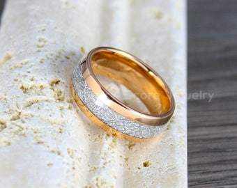 FREE SHIPPING Custom Engraved 14K Rose Gold Tungsten Meteorite Wedding Band Tungsten Meteorite Ring with Imitation Meteorite Texture Inlay