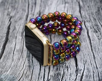 Rainbow Hematite apple watch band 42mm / 38mm // apple watch strap - iwatch band accessories - iwatch strap adapter - no-clasp - stretch fit