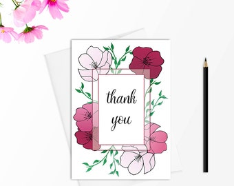Thank you card set, Thank you cards wedding, Stationery set, Greeting card set, Thank you note cards