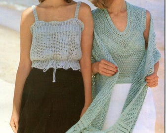 Vintage Camisole Shawl & Shell Top Crochet Pattern PDF Instant Download