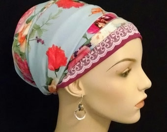 Blue and pink floral silky Sinar tichel, tichels, apron tichels, head wraps, chemo scarves, mitpachat