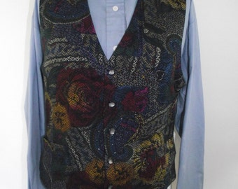 Vintage mens waiscoat vest by Jose Piscador floral abstract print  waiscoat size  Large