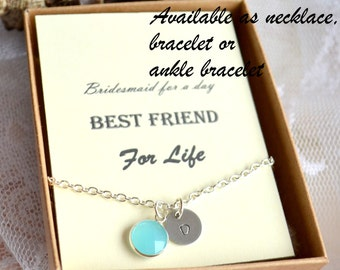 Seafoam blue necklace, Personalized wedding gift Bridesmaids jewelry Initialized necklace Light Blue Bridesmaids necklace, Bridesmaids gifts