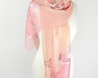 Pink Bird on Branch Print Scarf,Sheer Scarf,Lightweight,Wrap,Shawl,CoverUp,Mother of the Bride,Floral Scarf,Elegant Shawl,Oriental Birds