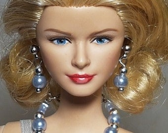 Metallic blue jewelry for Barbie and other fashion dolls